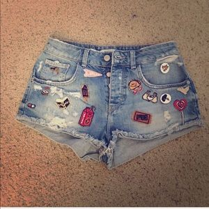 Zara distressed denim shorts with cute patches